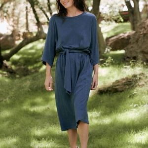 The GREAT. Blue Oversized Tee Shirt Midi Dress